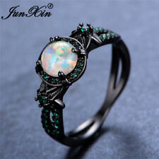 Double Side Star & Flower White Fire Opal Emerald Ring Black Gold Gift Size 6-10
