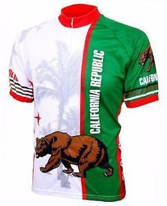 World Jerseys California Flag Mens Cycling Jersey White/Green X-Large Bike