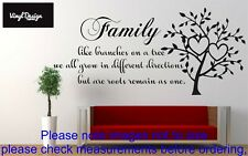 Family like branches vinyl wall art quote for living room/hallway walls