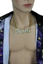 Men Fashion Necklace Gold Metal Chains Amen 3D Pendant Bling Hip Hop Big Jewelry