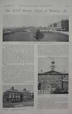 1898 BOER WAR ERA PRINT ~ ROYAL MARINE DEPOT AT WALMER PARADE GROUND BARRACKS