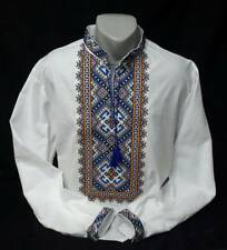 Ukrainian Embroidered Tradition Shirt for men. Cross stitch. 2XS-3XL