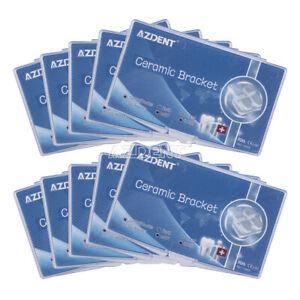 10X Dental Orthodontic Ceramic Brackets Braces MBT 022 Hooks 3 4 5 Laser Mark