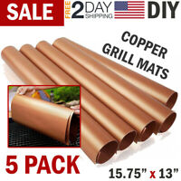 Copper Grill Mat BBQ Pad Non Stick Barbecue Mat Cooking Chef Bake Reusable Mats