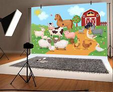 Cartoon Farm Red House Props Baby Backdrop Studio 7x5ft Vinyl Photo Background