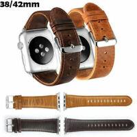 Genuine Brown Retro Leather Wrist Watch Strap Band Belt for Apple Watch 4 3 2 1