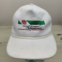 FUJI PROFESSIONAL - Vtg 90s White Corduroy Strapback Adjustable Dad Hat Cap