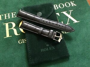 18mm Rolex Black Leather Band w/ 16mm Rolex Steel Buckle and Rolex Pouch