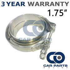 """V-BAND CLAMP + FLANGES COMPLETE STAINLESS STEEL EXHAUST TURBO HOSE 1.75"""" 45mm"""