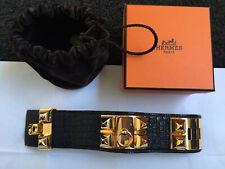 Authentic Hermes Collier de Chien CDC Bracelet Black Exotic Leather- RRP $2900+!