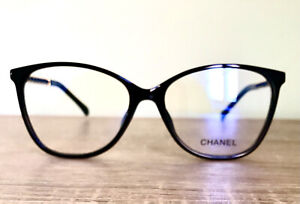 New Chanel Eeglasses Frame Black Gold leather  Clear Lens Authentic w. Case