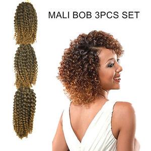 MALI BOB 3PCS 8in Curly Wave Twist Crochet Braid Synthetic Hair Extension 1B/BUG