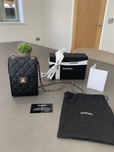 Chanel Grained Calfskin Black Phone Holder Clutch WOC Wallet On Chain.