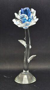Crystal Rose Flower Ornament Blue