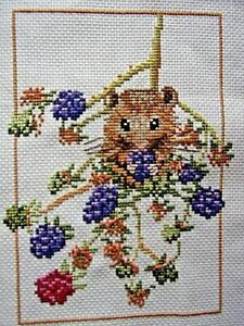 Harvest Mouse eating blackberries. Completed cross stitch picture. 14 x19cm