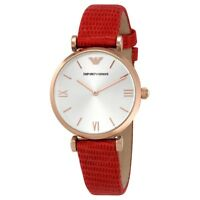 Emporio Armani Red Leather Rose Gold Case Silver Dial Women's Watch AR1876