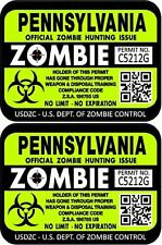 Prosticker 1248 Two 3x 4 Pennsylvania Zombie Hunting License Decals Stickers