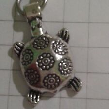 "TIBETAN SILVER 2 CHARMS,""TURTLE TERRI PIN""ON LOBSTER CLASP FOR CHARM BRACELET"