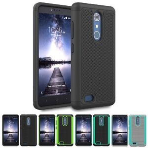 For ZTE ZMAX Pro / ZTE Carry Hybrid Grid Slim Armor Case Skin Phone Cover