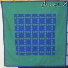 Authentic c 1930s Pa Amish Nine Patch Vintage Quilt Jewl Tone Green Blue 75 x 76