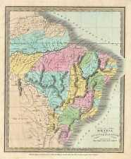 1834 Burr Map of Brazil, Guyana, Paraguay and Uruguay
