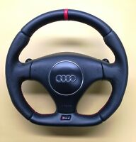 Steering Wheel Audi RS6  NEW LEATHER + STRIP  / FLAT BOTTOM // R8 2017 STYLE