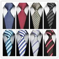 Blue Black Red White Gray Stripe Striped New Classic 100%Silk Men's Tie Necktie@