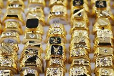 2pc Ring Men Mixed Gold Plated Crystal Rhinestone Mens Luxurious Rings Vintage