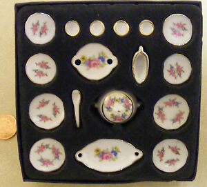 1:12 Scale 17 Piece Ceramic Pink Rose Dinner Service Tumdee Dolls House DA132