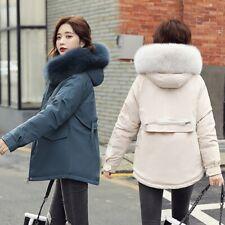 Winter Womens Faux Fur Hooded Coat Parkas Wool Lined Thinck Short Jacket Outwear