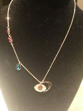 Made W/ Swarovski Crystal Duo Evil Eye Pendant Ruby Red Pendant Necklace Rose