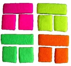Neon Towelling Sweatbands Headband 2 Wrist Bands Fancy Dress 80s Party 4 Colours