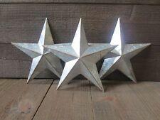 "Lot of 3 Galvanized Primitive Rusty Metal Stars 10"" Country Tin Barn Americana"