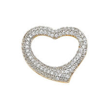 14k Yellow Gold Cubic Zirconia Curved Heart Slide Pendant