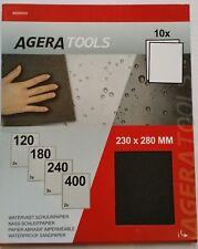 Agera Tools Wasserfestes Schleifpapier Nassschleifpapier 10Blatt 120/180/240/400