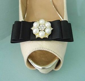 2 Black Satin Bow Clips for Shoes with Large Pearl, Diamante & Gold trim Centre