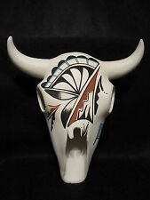 NATIVE  AMERICAN  **LARGE** CERAMIC  HAND-PAINTED  STEER  SKULL~SIGNED ~ L. TOYA