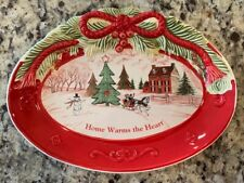 Fitz & Floyd Vintage Collectible Christmas Holly Sentiment Tray/Plate Home Decor