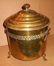 Vintage Gilt Brass Lidded Coal Bucket / Bin / Scuttle With Inner