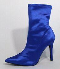 Qupid women's sock bootie fashion blue slip on heel pointed toe size 8.5
