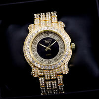 Fully Iced Men Gold Black Watch Bling Rapper Simulate Lab Diamond Luxury Band