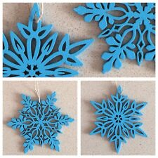 3 CHRISTMAS Snowflakes Timber Blue & Silver Quick Delivery