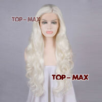 Lace Front Wig White Hot Sale Heat Resistant 25 Inches Curly Synthetic Hair
