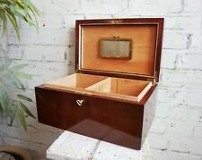 More details for vintage walnut humidor cigar box with clay filter & 2 keys - possibly dunhill