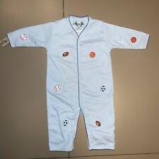 "Soft ""Margery Ellen"" blue baby boy embroidered sports balls one piece 3-6 months"