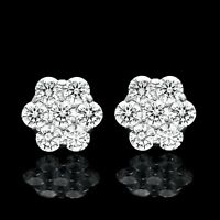 4CT Brilliant Created Diamond Cluster Earrings 14K White Gold 7-Stone Studs