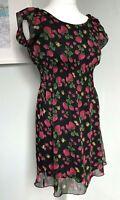 MELA LOVES LONDON Black Chiffon Strawberry Print Mini Dress Sz 10 Shirred Waist