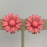 Pink Enamel Flower Clip On Earrings Vintage Daisy Power Mod Retro 1960s Bright