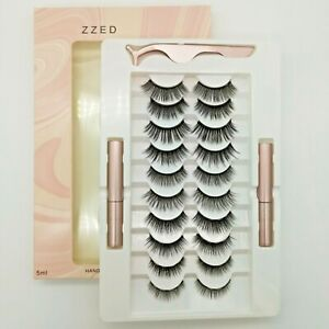 Waterproof Magnetic 10 Pair Eyelashes + 2 Eyeliner + Tweezer Long Lashes Set UK