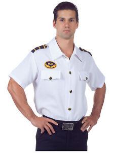 Pilot White Shirt Officer Flight Captain Airline Uniform Aviator Men Costume XL
